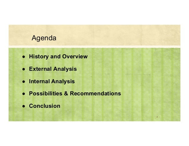 Agenda ● History and Overview ● External Analysis ● Internal Analysis ● Possibilities & Recommendations ● Conclusion 2