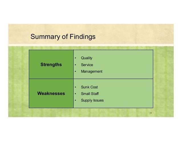 Summary of Findings 28 Strengths • Quality • Service • Management Weaknesses • Sunk Cost • Small Staff • Supply Issues