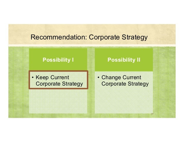 Recommendation: Corporate Strategy Possibility I • Keep Current Corporate Strategy Possibility II • Change Current Corpora...