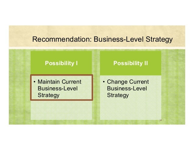 Recommendation: Business-Level Strategy Possibility I • Maintain Current Business-Level Strategy Possibility II • Change C...