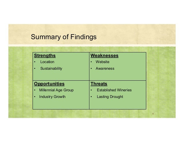 9 Strengths • Location • Sustainability Weaknesses • Website • Awareness Opportunities • Millennial Age Group • Industry G...