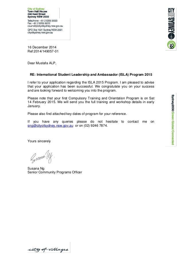 Mustafa Isla 2015 Successful Applicant Notification