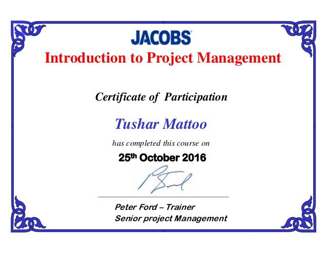 Tushar Mattoo Training Course Certificate Project Management