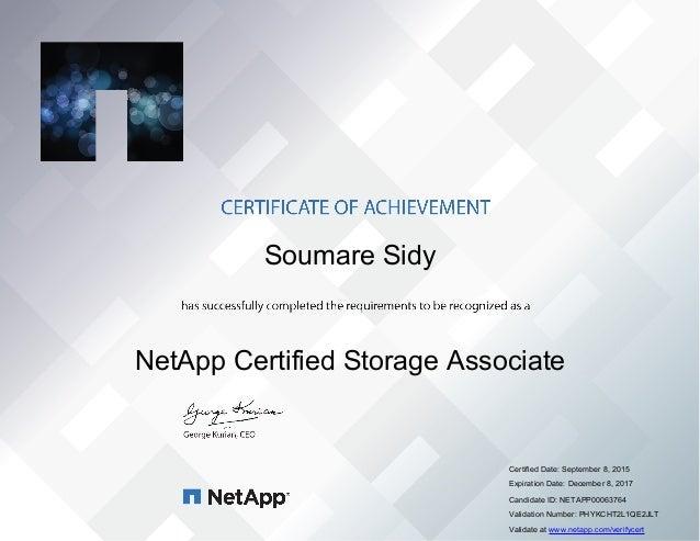 Netapp Certified Storage Associate Certificate