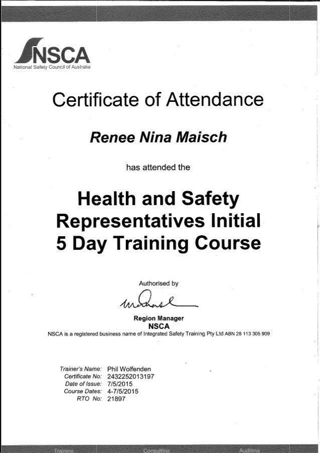 Nsca Certificate Of Attendance