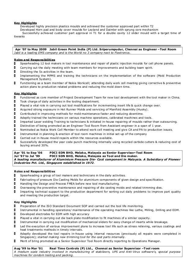 tool and die maker resume sample contegri com