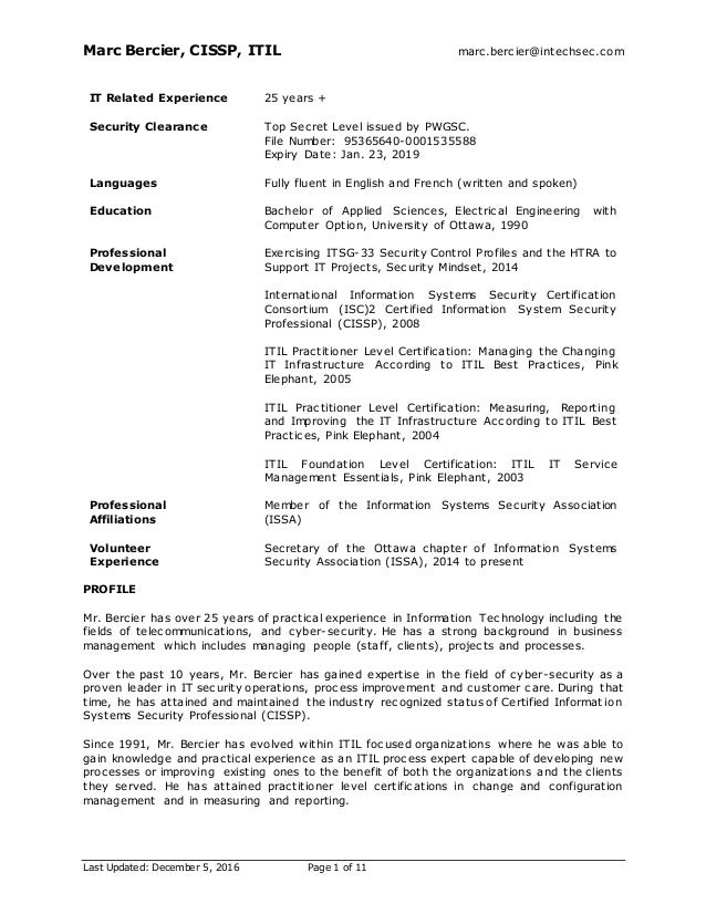 Marc Bercier CISSP ITIL Marcbercierintechsec Last Updated