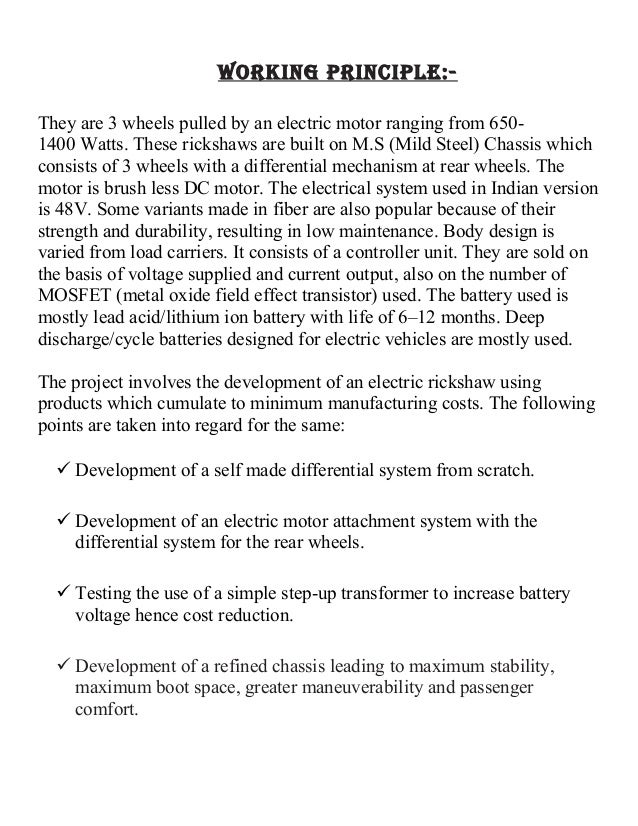 Final Synopsis- Project on Construction of electric vehicle