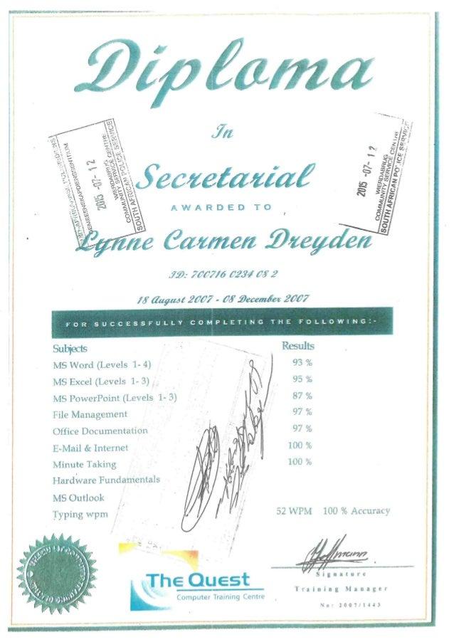 Lynne Certificates