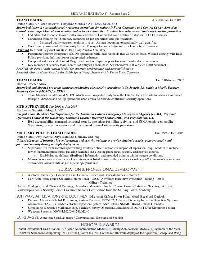 2 benjamin hathaway resume - Military To Civilian Resume