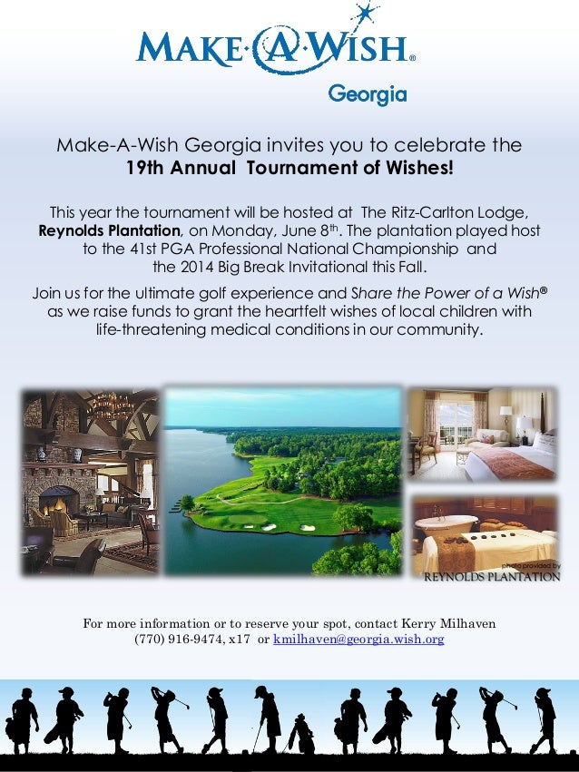 Make-A-Wish Georgia invites you to celebrate the 19th Annual Tournament of Wishes! This year the tournament will be hosted...