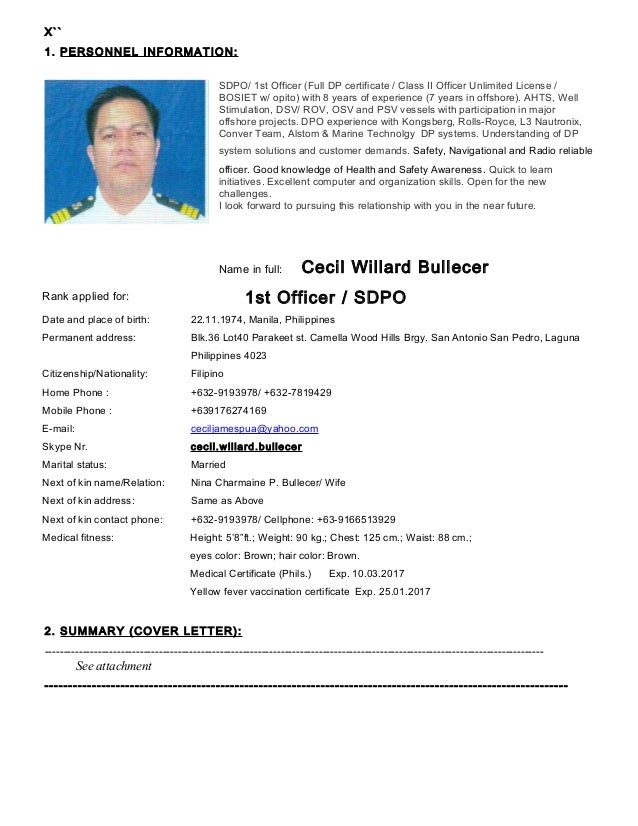 Seafarer Resume Sample Resume Ideas
