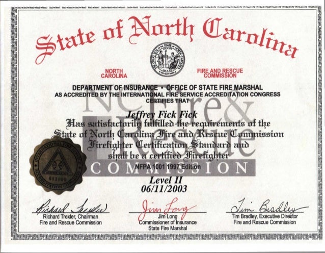 State Firefighter II Certification
