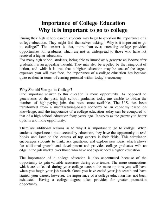 The Value Of A College Education Essay
