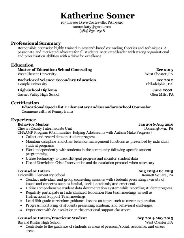 Guidance Counselor Certification Free Professional Resume