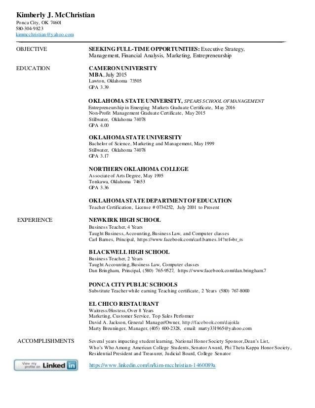 Resume, online, Kimberly McChristian