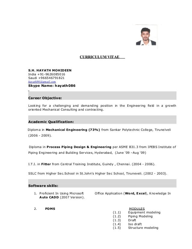 hayath mechanical engineer cv