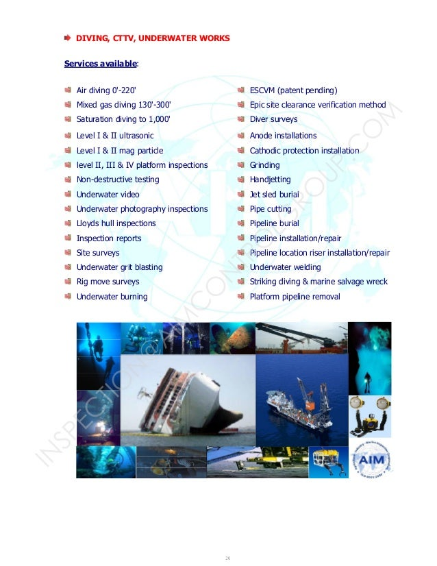 Saturation Diving Companies : Aim control brochure