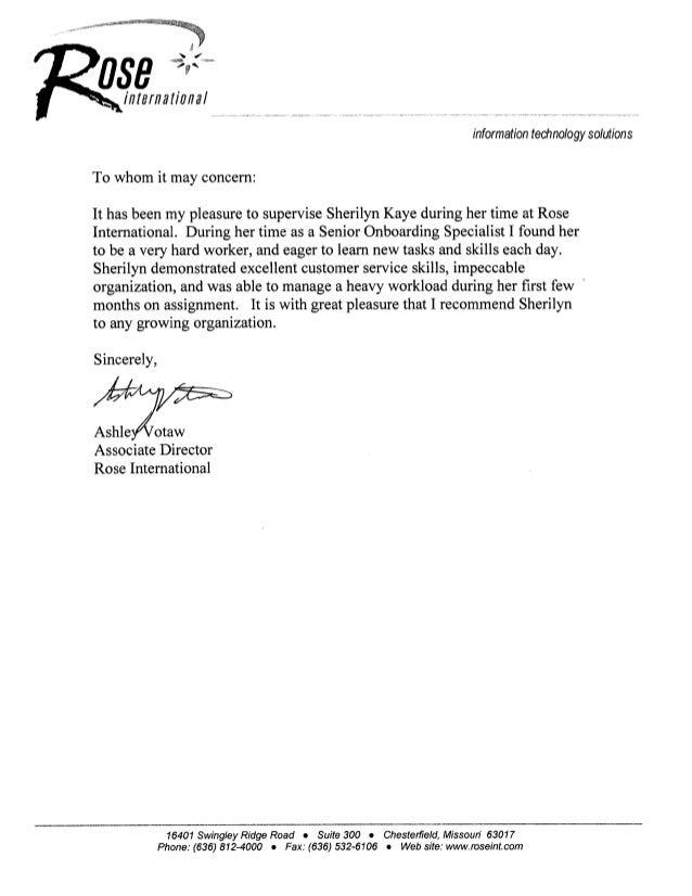rose recommendation letter