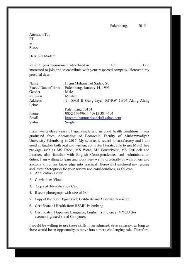application letter and cv terbaru