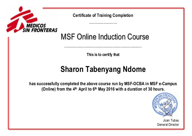Certificate induction online sharon tabenyang ndome for Ria compliance manual template