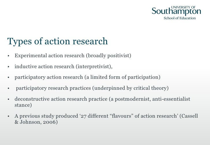 types of action research This tracing reveals that different kinds of action research are based on very  different theoretical and philosophical assumptions (worldviews).