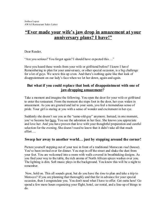 Josh's restaurant sales letter