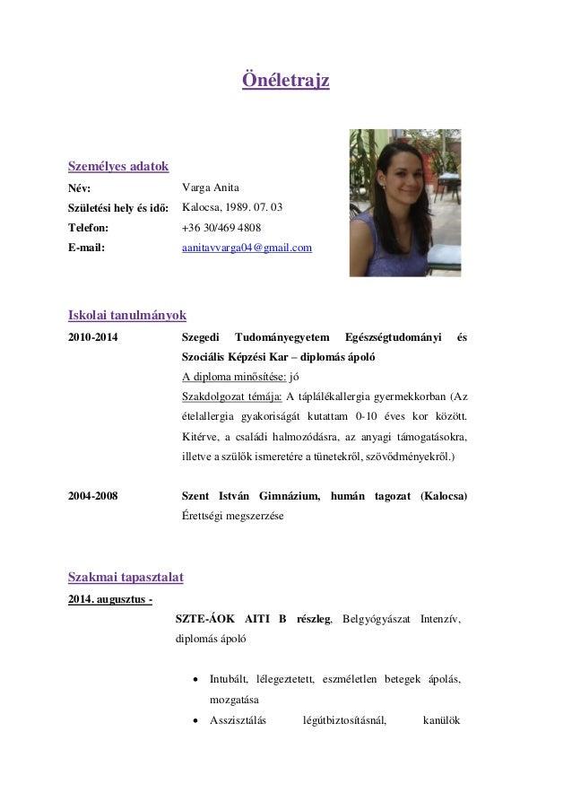 önéletrajz minta ovónő Varga Anita CV önéletrajz minta ovónő