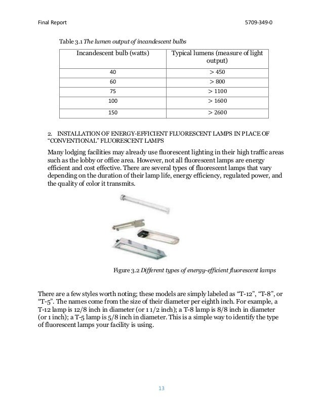 Final Report 5709-349-0 13 Table 3.1 The lumen output of incandescent bulbs Incandescent bulb (watts) Typical lumens (meas...