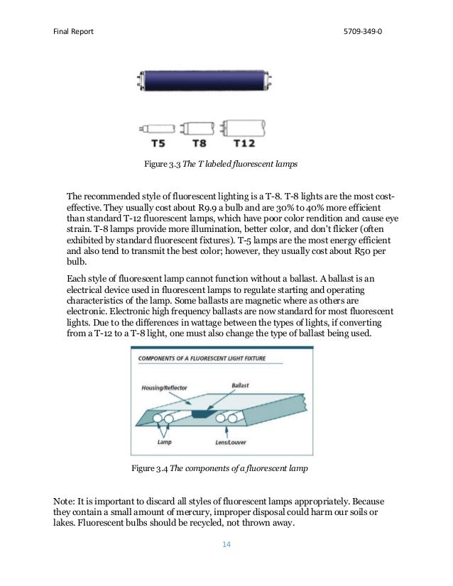 Final Report 5709-349-0 14 Figure 3.3 The T labeled fluorescent lamps The recommended style of fluorescent lighting is a T...