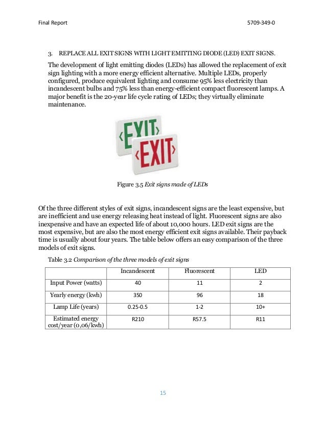 Final Report 5709-349-0 15 3. REPLACE ALL EXIT SIGNS WITH LIGHT EMITTING DIODE (LED) EXIT SIGNS. The development of light ...