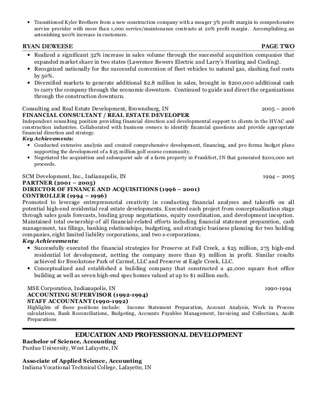 CFO real estate construction resume