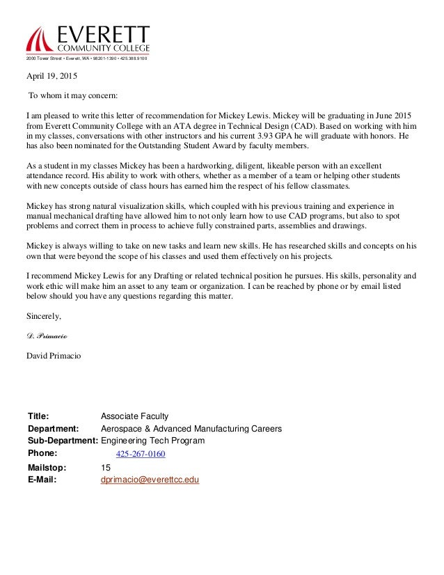reference letter mick lewis