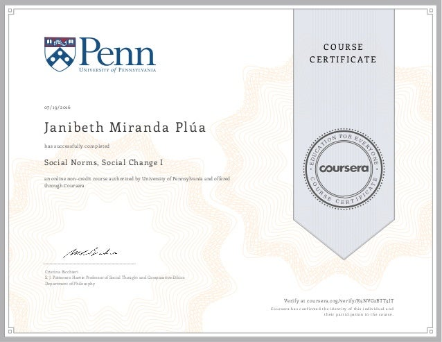 Coursera Certificate of Complexion
