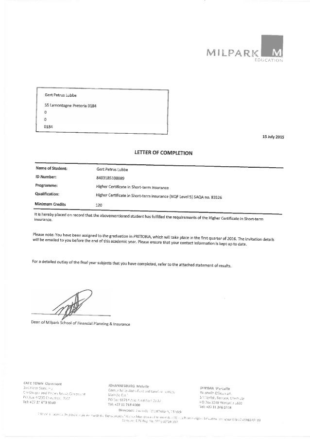 Milpark Nqf5 Higer Certificate In Short Term Insurance
