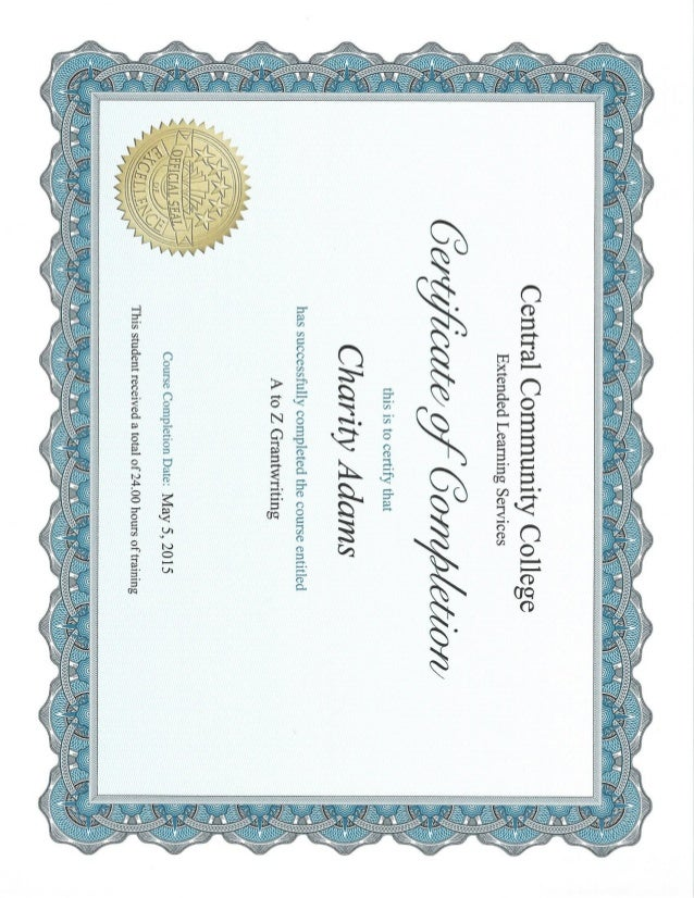 A to Z grant writing certificate of completion