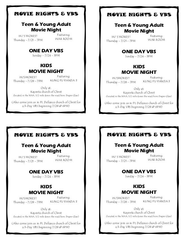 Movie Nights and VBS's Flyer