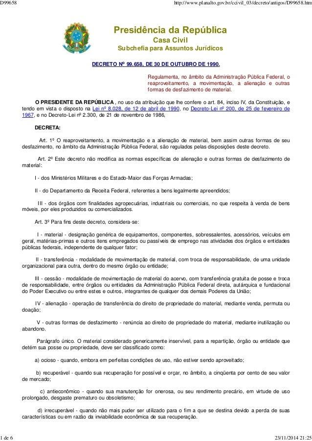 Casa Civil Subchefia para Assuntos Jurídicos DECRETO No 99.658, DE 30 DE OUTUBRO DE 1990. Regulamenta, no âmbito da Admini...