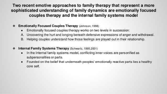 experiential family therapy It is based on work of virginia satir, walter kempler and carl whitaker who have written extensively on the topic of integrating experiential therapy with family therapy it is an opportunity to learn and practice how to facilitate growth in human potential, cooperation and development of a family.