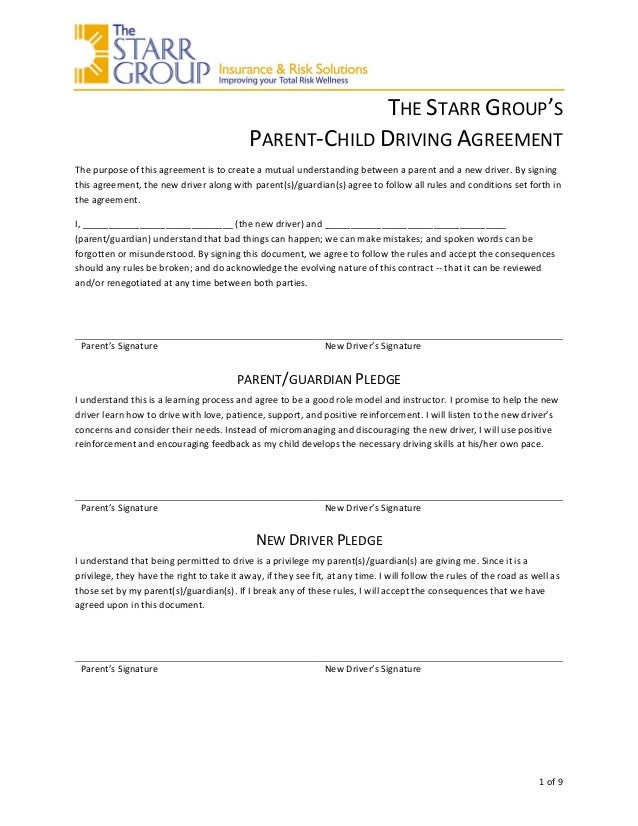 The Starr Groups Parent Child Driving Agreement