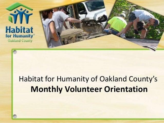 Habitat for Humanity of Oakland County's Monthly Volunteer Orientation