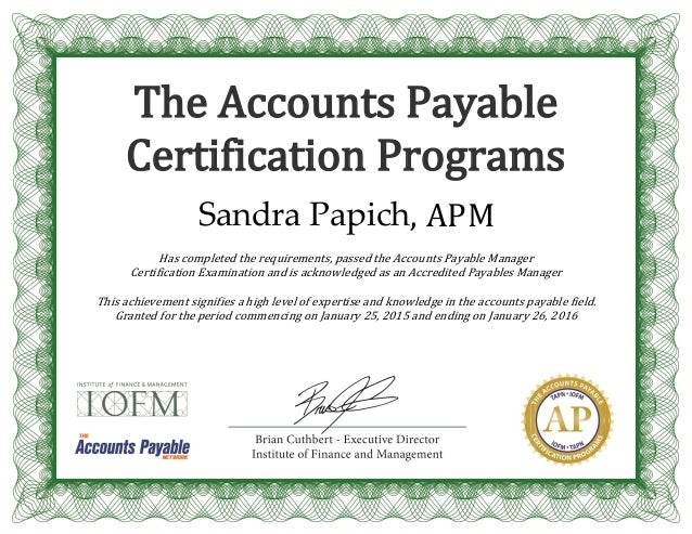 IOFM - AP Mgr Certification Certificate