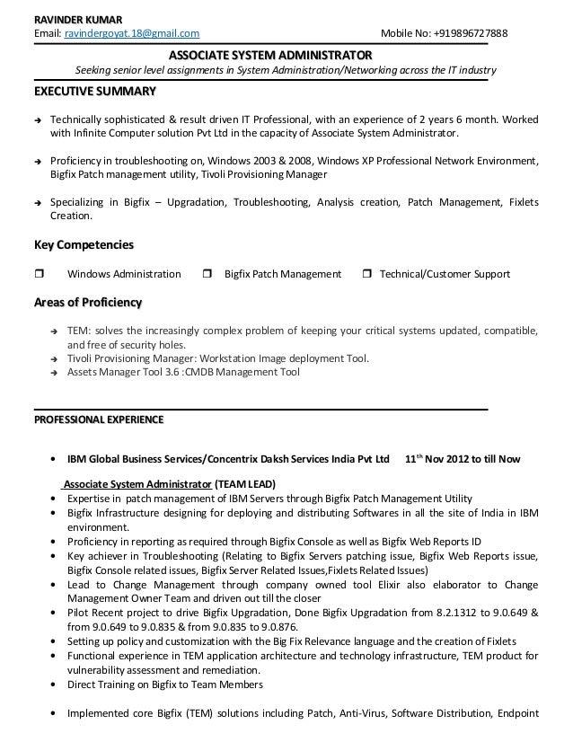 RAVINDER KUMARRAVINDER KUMAR Email: ravindergoyat.18@gmail.com Mobile No: +919896727888 ASSOCIATEASSOCIATE SYSTEM ADMINIST...