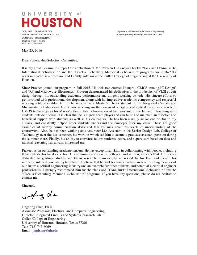 dr chen recommendation letter college of engineering department of electrical and computer engineering department of electrical and n308 engineering bui