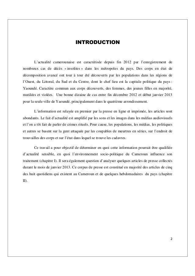 2 INTRODUCTION L'actualité camerounaise est caractérisée depuis fin 2012 par l'enregistrement de nombreux cas de décès « i...