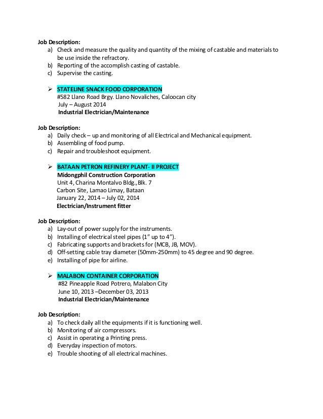 resume 3 – Maintenance Electrician Job Description