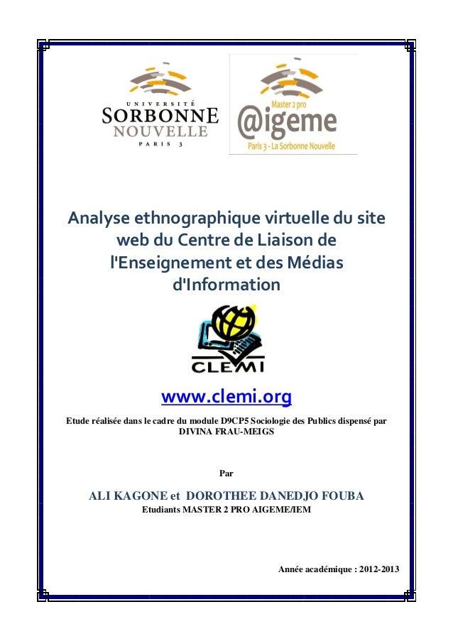Analyse ethnographique virtuelle du site web du Centre de Liaison de l'Enseignement et des Médias d'Information www.clemi....