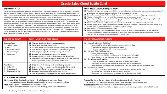 Sales Cloud Battle Card