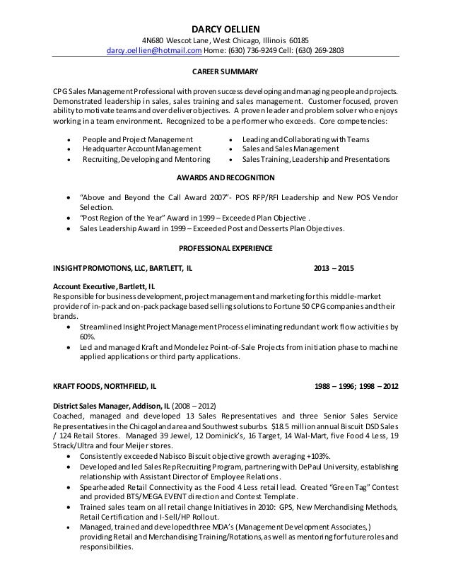 darcy oellien resume 2016 - Objective For Sales Resume