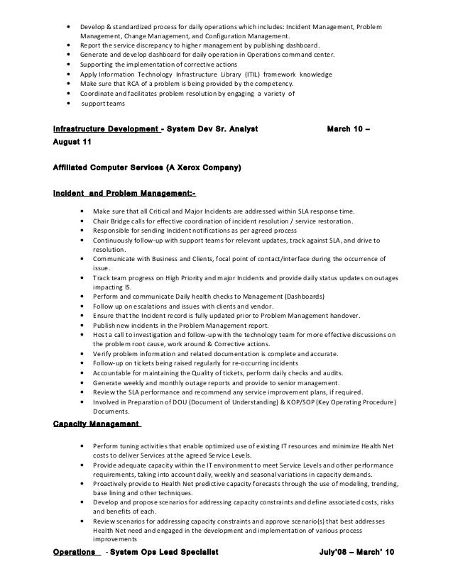 Infrastructure specialist sample resume